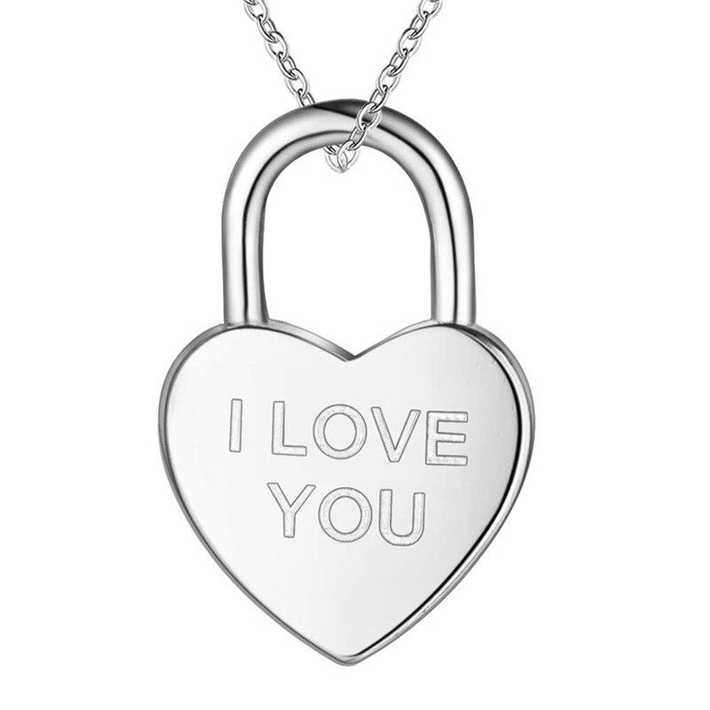 Us 133 25 Offromantische Ontwerp Zilver Liefde Hart Slot Hanger Ketting Mode Sieraden Valentijnsdag Cadeau Voor Vrouw Top Kwaliteit Lage Prijs In