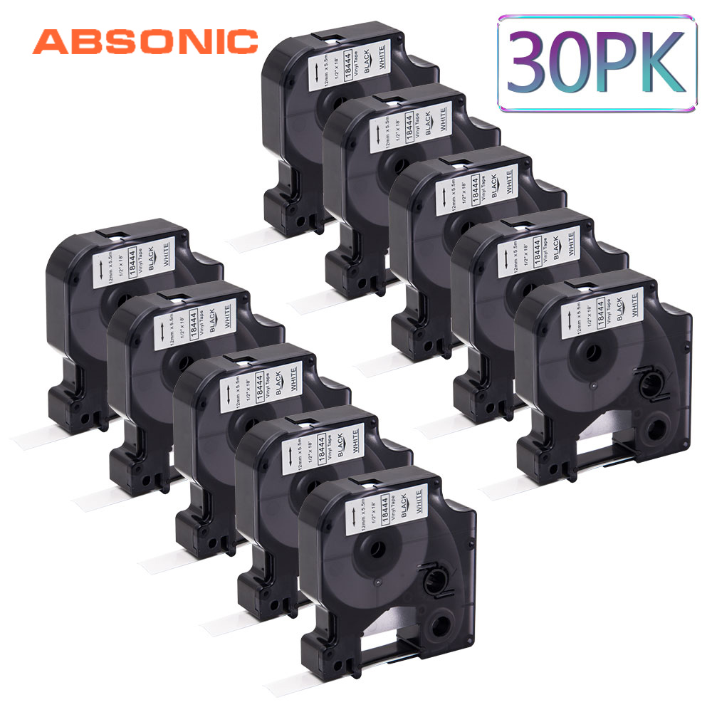 Absonic 30PCS 12mm DYMO Rhino 18444 Black on White IND Vinyl Labeling Tape Industrial Cartridge For