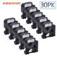 Absonic 30PCS 12mm DYMO Rhino 18444 Black on White IND Vinyl Labeling Tape Industrial Cartridge For Rhino 1000 3000 4200 Printer