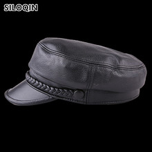 SILOQIN 2019 New Style Womens Genuine Leather Hat Autumn Winter Sheepskin Military Hats For Women Brands Flat Top Caps