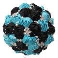 100% Ручной Работы Pearl Букеты Синий Черная Роза Искусственные Цветы Свадебный Букет Лента Брак Рука Свадебный Букет ТЕХНОЛОГИЧЕСКАЯ КАРТА W224