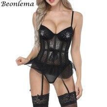 Beonlema corsetto di pizzo Sexy da donna corsetto di maglia trasparente 3/4 tazza reggiseno lucido top Korset Lingerie intimo strass Korse