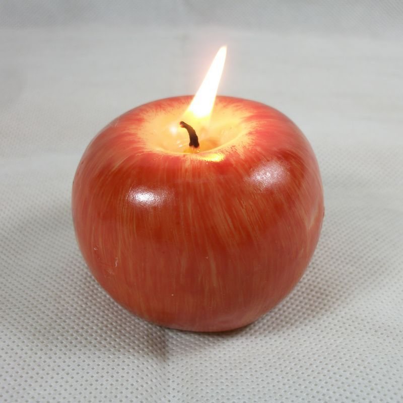 1pcs christmas red apple shape fruit scented candle home for Apple fruit decoration