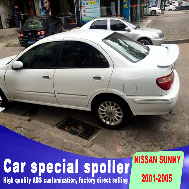 red pilot lamp stop light rear trunk roof spoiler high quality ABS big spoiler for 2001 2002 2003 2004 2005 nissan sunny spoiler