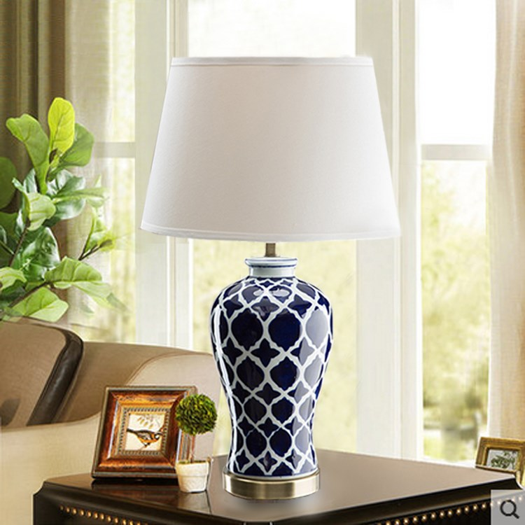 Commercial Table Lamps: Chinese Blue Ceramic Table Lamps For Restaurant Living