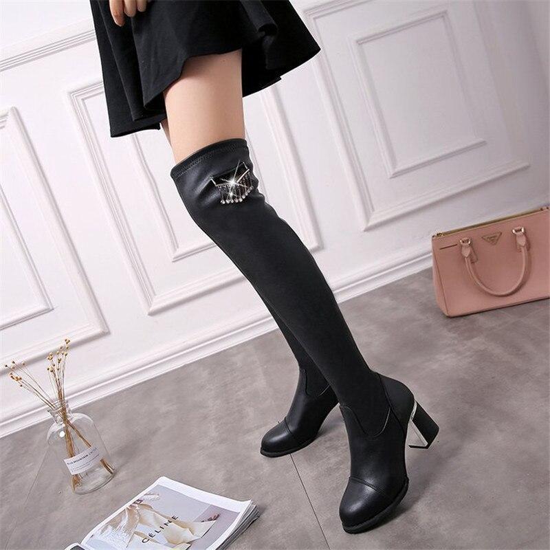 Zapatos Casco Invierno Pu Las La Altas Elástico Encima Mujer 2019 Rodilla Tacones Botas Por De Sexy Mujeres Negro Pz1qwO7x
