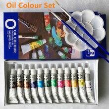 Масляные краски мелкой живописи товары для рукоделия 12 цветов 6 мл туба предлагаем 2 кисти и 1 палитра бесплатно
