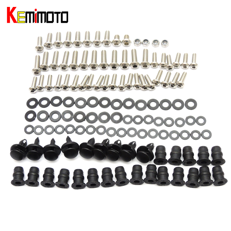 KEMiMOTO For Kawasaki Ninja ZX10R Motorcycle Fairing Bolt Screw Fastener Nut Washer For Kawasaki Ninja ZX-10R 2004 2005