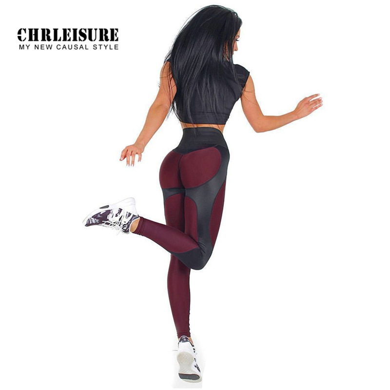 CHRLEISURE Workout   Leggings   Women Polyester High Waist Ankle-Length Pants Patchwork Push Up Fashion Female   Legging