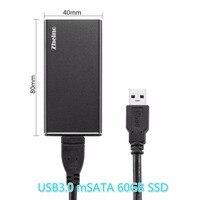 Zheino P3 USB3 0 Portable External 60GB 120GB 256GB SSD Aluminum Case Super Speed With MSATA