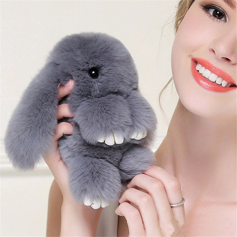18CM Big Size Cute Pluff Bunny Keychain Rex Faux Rabbit Fur Key Chain For Women Bag Pendant Car Fluffy Fur Doll
