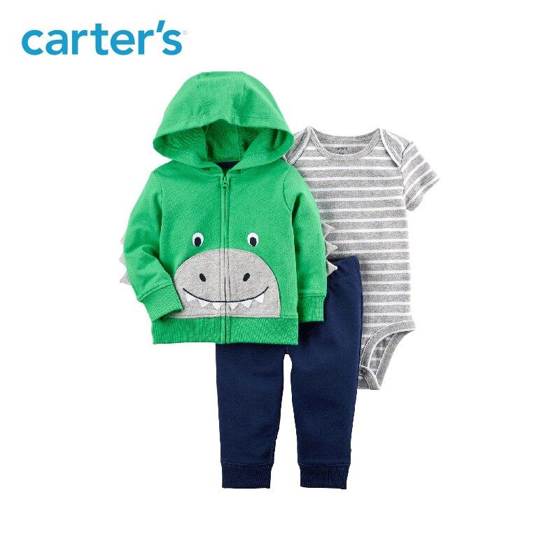 Carter's из 3 предметов для маленьких детей Детская одежда для мальчиков на весну и осень хлопок сладкий динозавр лица курточку комплект 121I378