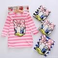 New 2017 summer autumn girl dress stripe Cartoon Cute hello kitty dresses Side 2 pockets cotton Vestidos girls clothes costume