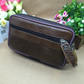 The Brown Leather Men's Business Bag Casual  Zipper Wallet Waist Pack