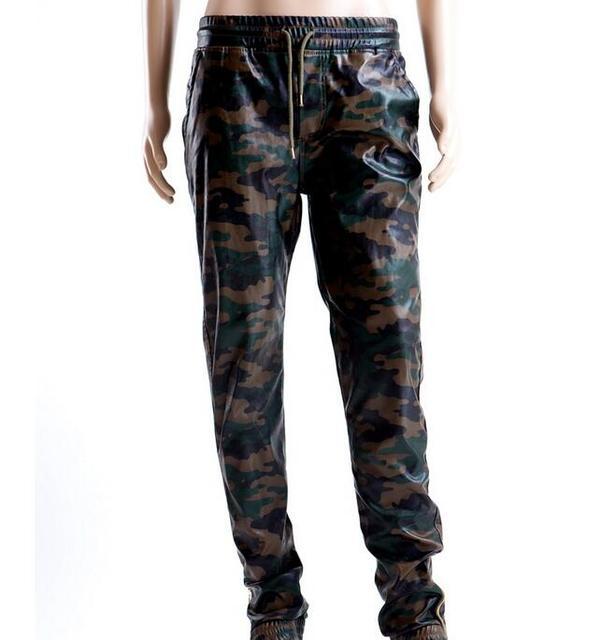 Los hombres de camuflaje de la pu de cuero basculador pantalones cremallera lateral nuevo 2017 mens camo patrón hip hop de cuero de imitación joggers envío gratis