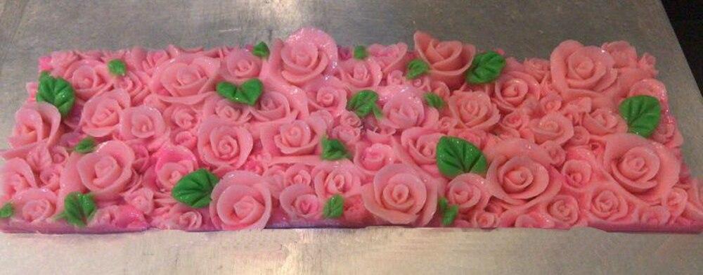 1 piezas de gran tamaño rosa con flores de Fondant pastel de silicona molde Chocolate molde de hornear pastel Rosa molde jabón hecho a mano-in Moldes para pasteles from Hogar y Mascotas    2