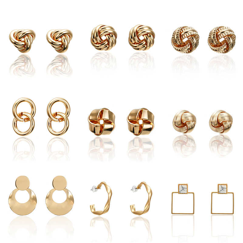 Trendy Gold Color Indented Stud Earrings Fashion Jewelry Women Earrings Wedding Party Gifts Female Accessories Good Quality