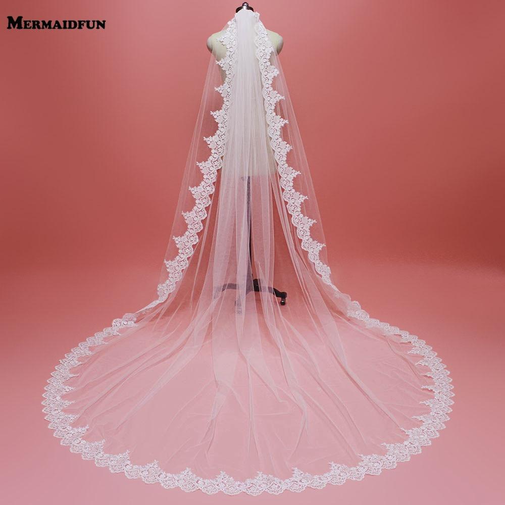 High Quality 3 Meters Bling Sequins Lace Edge Bridal Veil With Comb Single Tier 3 M Wedding Veil New Velos De Novia 2019