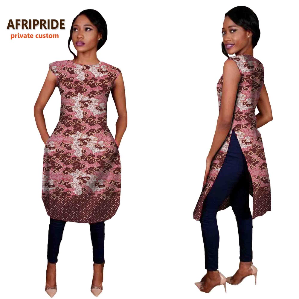 2018 موضة جديدة AFRIPRIDE الخاص مخصص معطف طويل للنساء slevesless الجانب المفتوح معطف زائد حجم القطن لعارضة نوع A722409