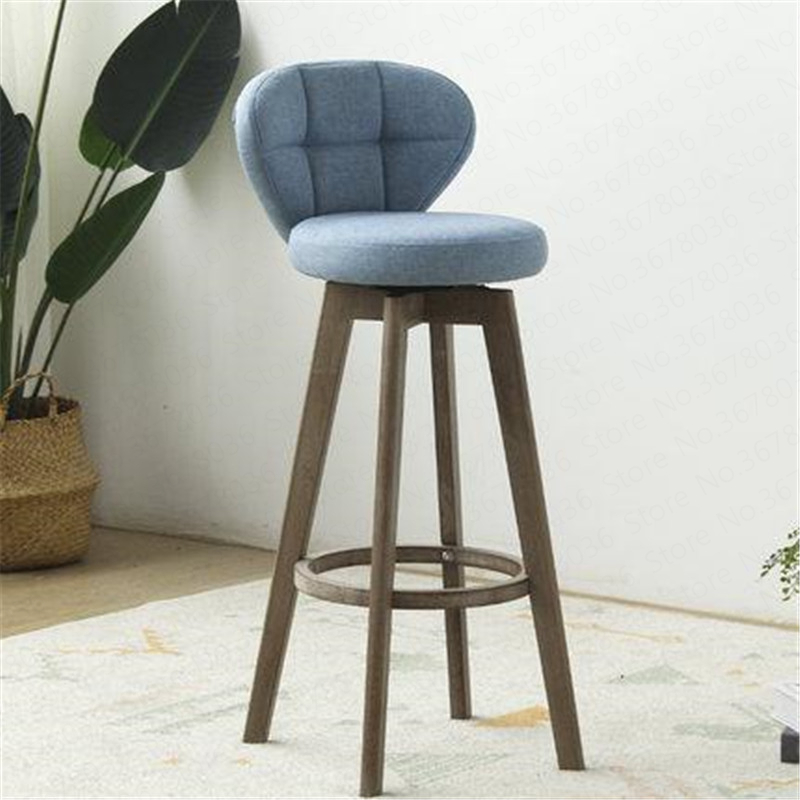 New European Bamboo Solid Wood Elm Bar Chair Retro Color Rotate Bar Stool Bar Stool Bar Chair Front Stool High Chair