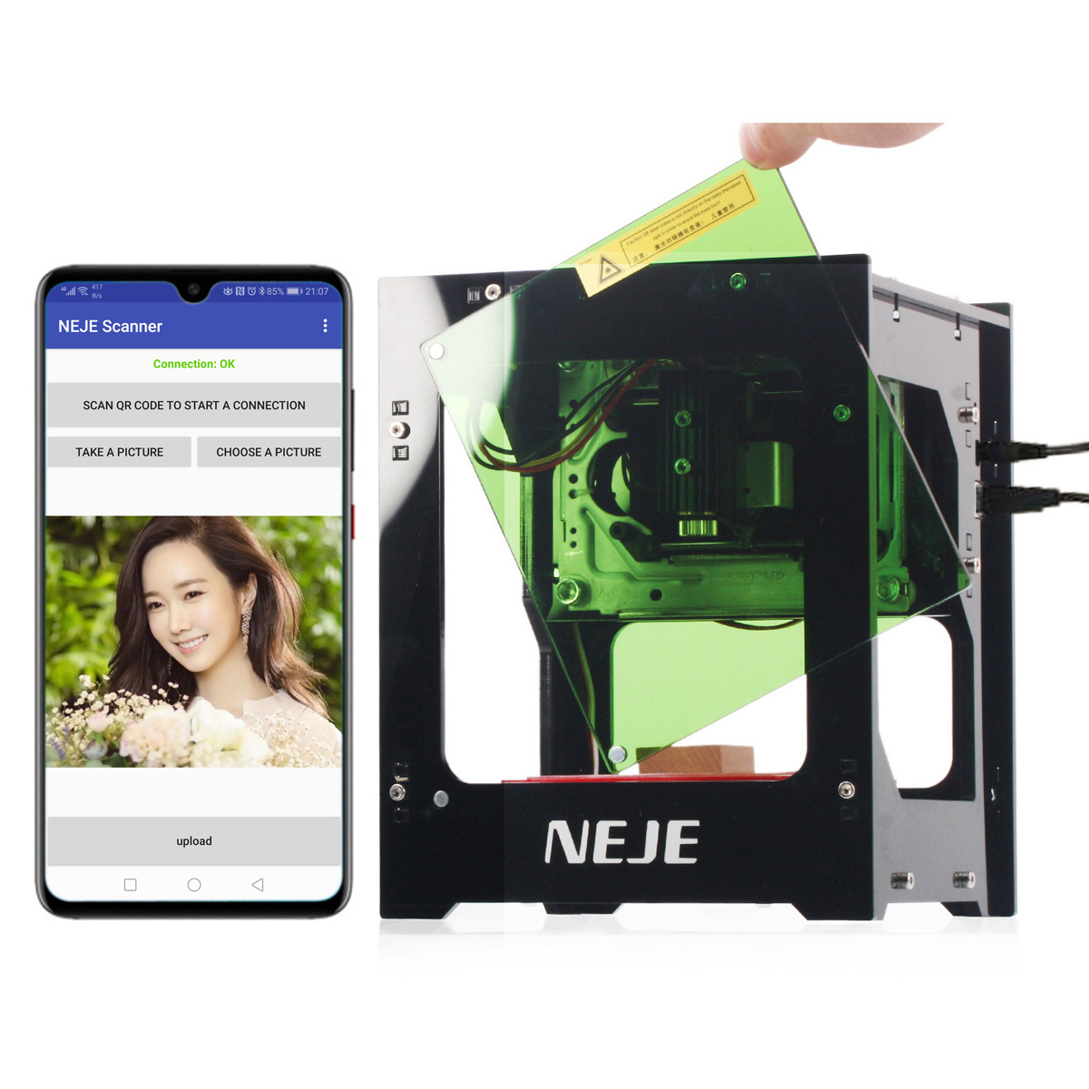 2019 NEW Hot NEJE DK-BL 445nm 1500/3000mW High Power DIY Mini Cnc Bluetooth Laser Engraver Router Machine For Depth Engraving(China)