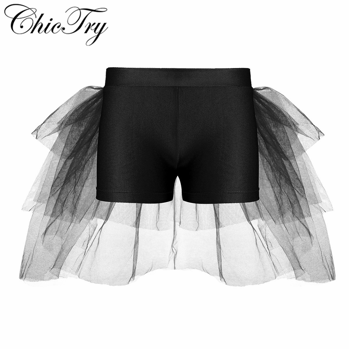 Kids Girls Children Shorts Bottoms with Attached Bustle Tiered Mesh Dance Wear Kids Shorts for Ballet Dance Stage Performance