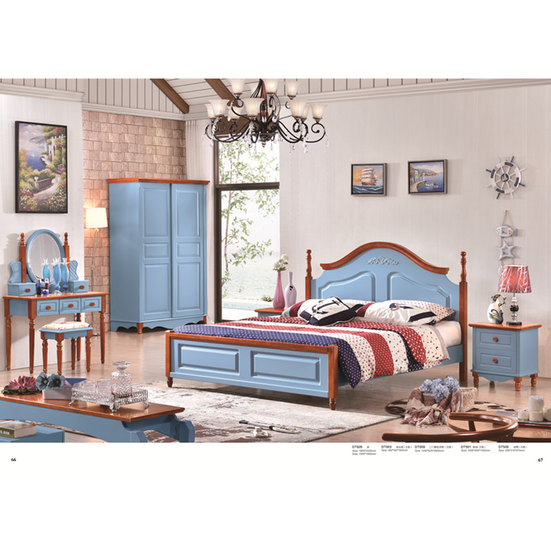 €694.57 |0425 lit en bois de couleur méditerranéenne design de luxe  moderne-in Ensembles chambre à coucher from Meubles on AliExpress