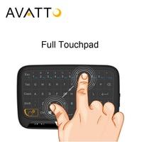 [AVATTO] mais novo H18 Full Touchpad 2.4 GHz Wireless mini teclado Para Jogos teclado Air Mouse com Touch pad Para tv Inteligente, ipad, Caixa de Android, PC