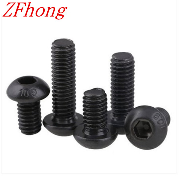 1000pcs Grade10.9  iso7380 M3*3/4/5/6/8/10/12/14/16/18/20 3mm Hex Socket Button Head Screws steel with black 7380 fan7380 sop 8