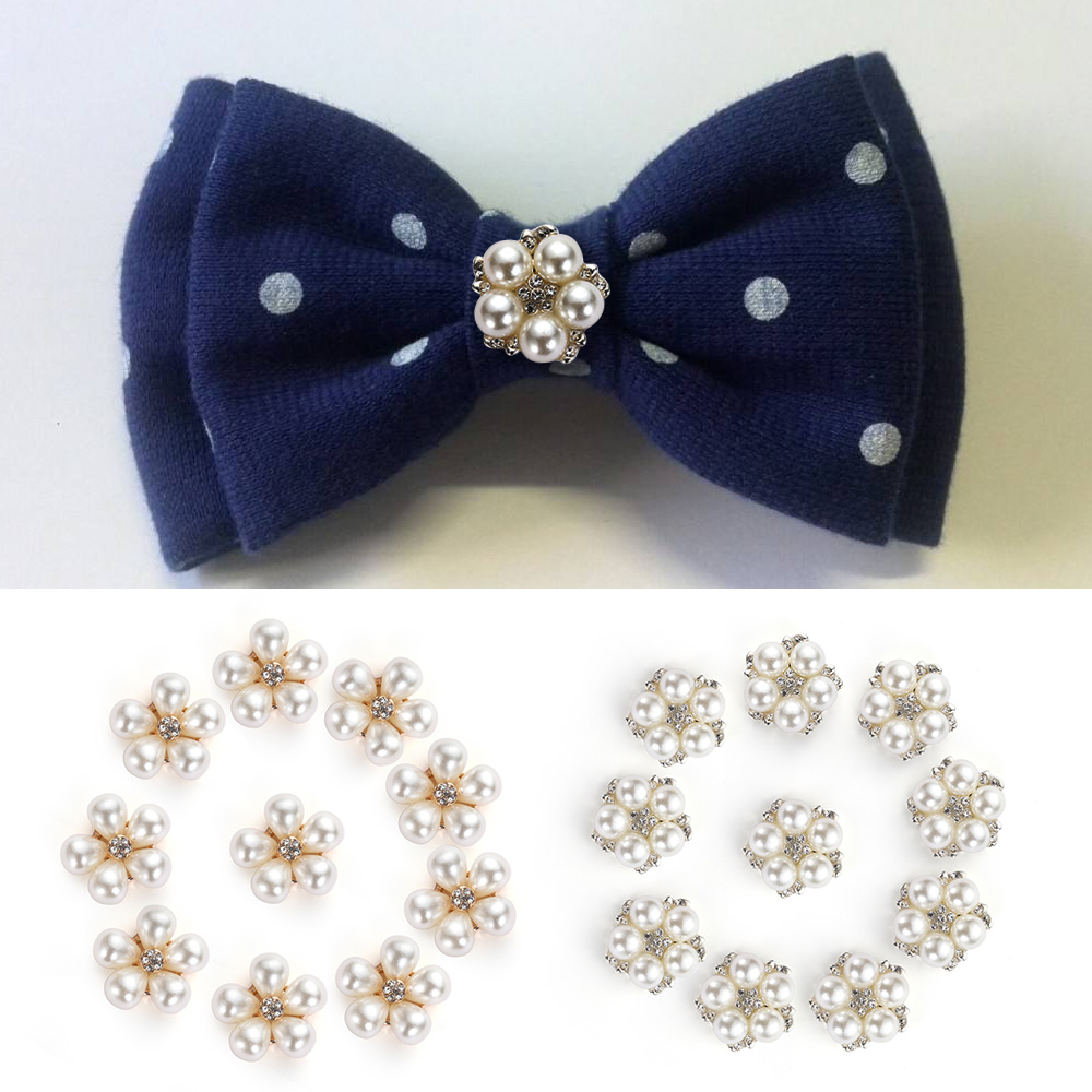 10pcs/Set DIY Flower Rhinestones Buttons Pearl button Alloy Diamante crystal Bow wedding decoration Sewing Decor Accessories
