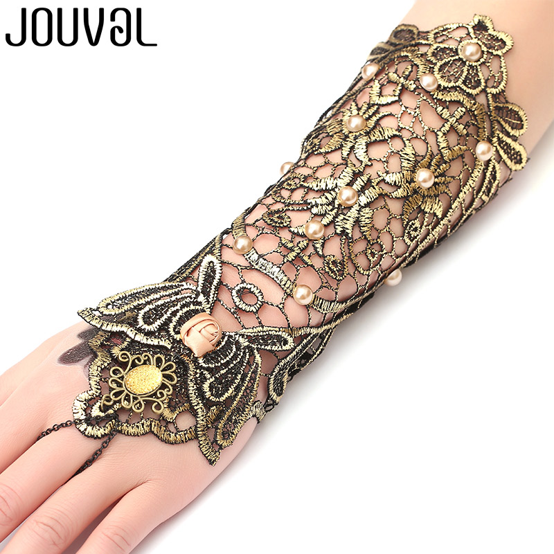 JOUVAL Handmade Sexy Gothic Women Bracelet Black&Gold Lace Finger Floral Bracelet Simulateds Pearl Rose Lady Wedding Jewelry