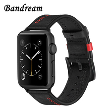 Bandream Bracelet de montre en cuir de veau véritable, pour Apple Watch 5 4 3 2 1 44mm 42mm 40mm 38mm, accessoire