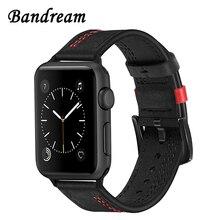 Bandream Genuine Kalb Leder Armband für iWatch Apple Uhr 5 4 3 2 1 44mm 42mm 40mm 38mm Zubehör Band Handgelenk Strap Armband