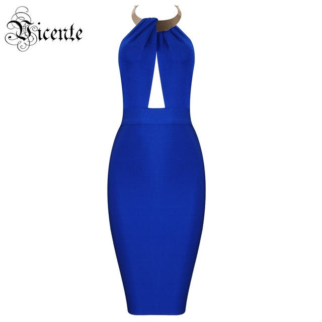 VC 2020 New Trendy Halter Design Sexy Sleeveless Backless With Golden Choker Celebrity Party Club Bandage Mini Dress