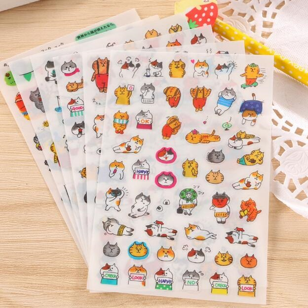 10packs/lot Kawaii Japan Cats' Life PET Sticker Hot Sell Students' Decoration Diary Stickers Office School Supplies