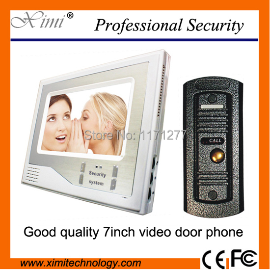 7 Inch Color TFT LCD Wired Video Door Phone Home Doorbell Intercom Camera System With 1 Camera + 1 Monitor Support Night Vision homefong villa wired night visual color video door phone doorbell intercom system 4 inch tft lcd monitor 800tvl camera handfree