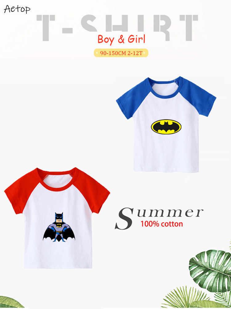 Musim Panas Kartun Lucu Batman 100% Katun Slim Atasan Lengan Pendek Pakaian Olahraga Atasan Katun Tee Tshirts Anak Laki-laki, b066