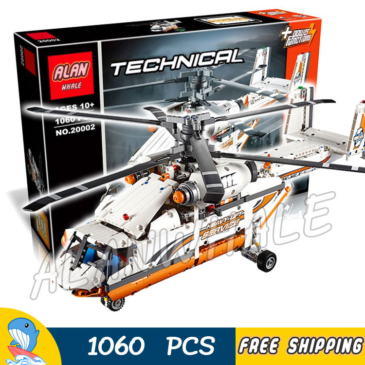 1060pcs 2in1 Techinic Motorized Heavy Lift Helicopter Tandem Rotor 20002 Model Building Blocks Toys Bricks Compatible With lego 1401pcs 2in1 techinic motorized crawler