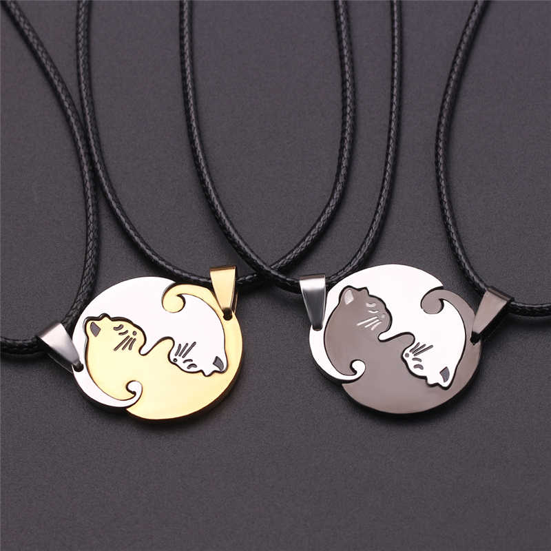 5da3b7ce4 Cute Couple Jewelry Animal Pendant Black And White Cat Stitching Necklace  Simple Friendship Gift Gold White