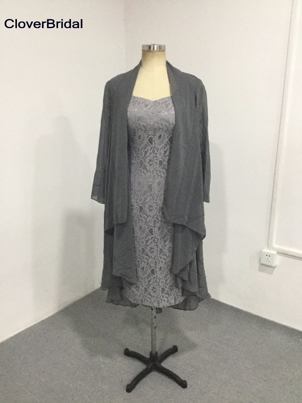 Slim sheath cheap grey mother of the bride dresses lace knee length with jacket coat formal