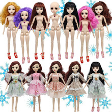 22 Moveable Jointed 45cm Dolls Toys Head 3D Eyes Nude Naked Body Fashion Princess Toy Clothes Accessories