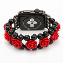 Banda de ágata de flor rosa roja para Apple Watch Series 1 2 3 4 pulsera para iWatch Correa 44mm 40mm 42mm 38mm pulsera de joyería(China)