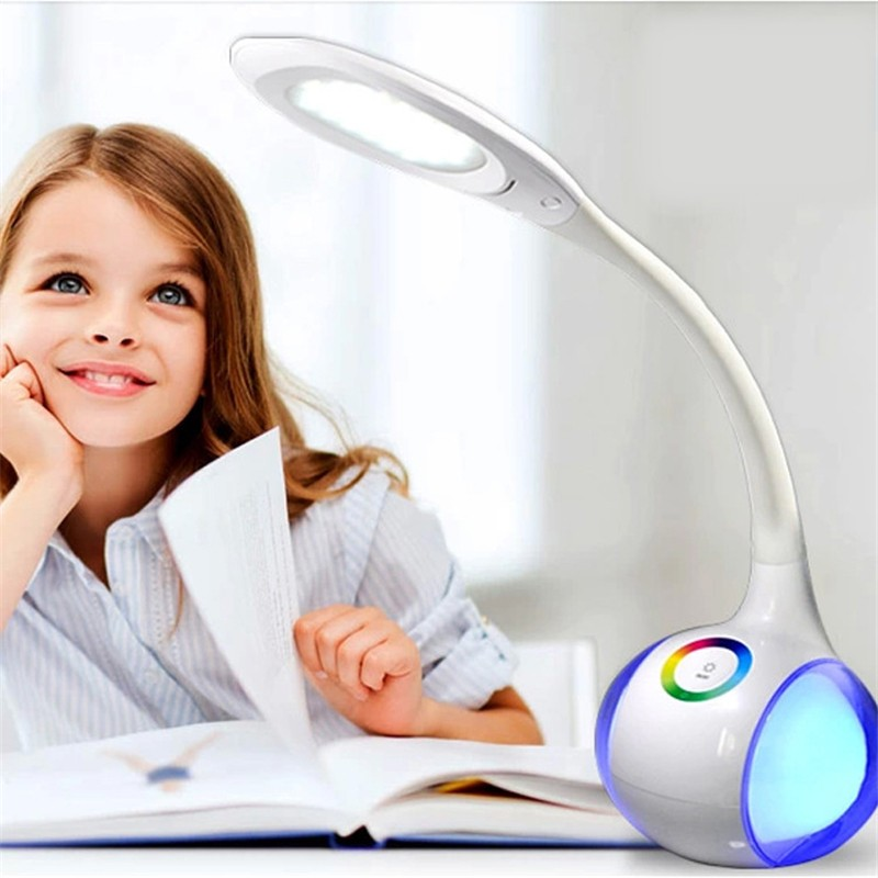 Modern Creative color change Led Desk Table Lamp Night light Eye Protection Reading Light Baby Children Bedroom Study Office купить