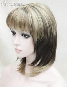 Image 2 - 強力な美容ウィッグミディアムロングストレートオンブル女性のかつら前髪