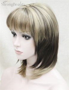 Image 2 - Strong Beauty Synthetic Wigs Medium Long Straight Ombre Womens Wig With Bangs