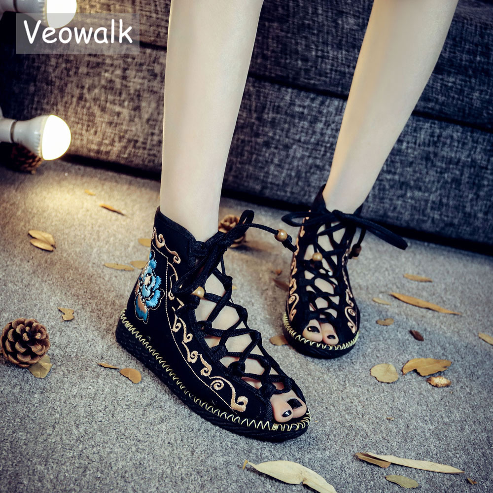 Veowalk Open Peep Toe Women Gladiator Canvas Sandals Shoes High Top Strappy Fashion Summer Comfort Ladies Flat Sandials Shoes strappy toe post flat sandals