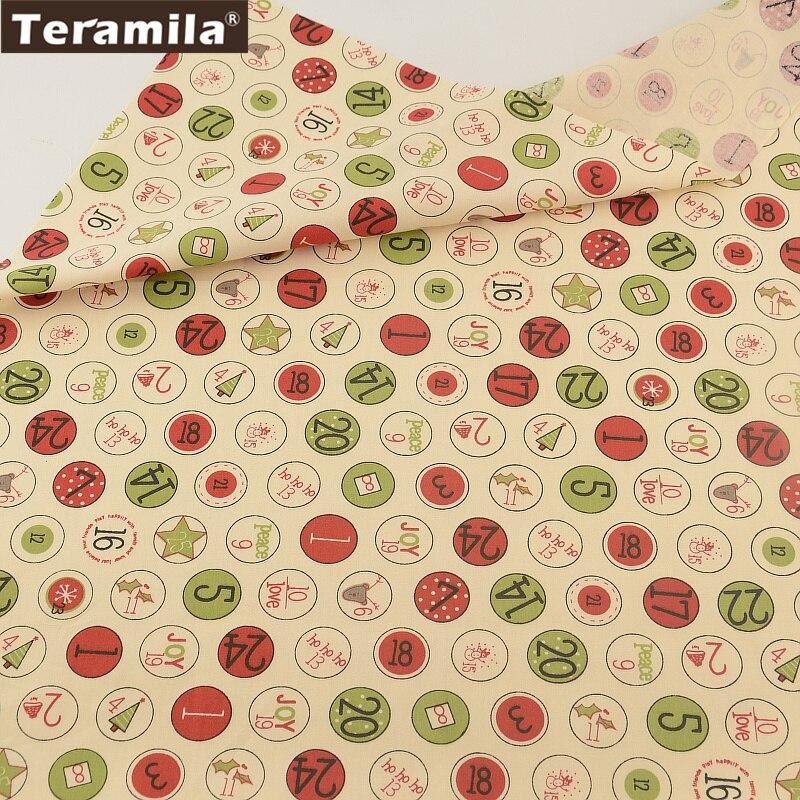 100% tela de algodón de color beige círculo digital diseños teramila fat quarter