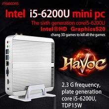 Intel Fanless Core i5 6200U Mini PC Windows 10 Desktop Computer NUC Nettop barebone system Skylake HTPC HD520 Graphics 300M WiFi