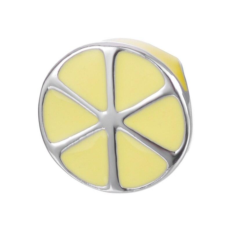 Unique Top Quality Fruit Fine Jewelry Enamel Yellow Color Lemon Design For Bracelet Or Necklace S925 Sterling Silver Charm