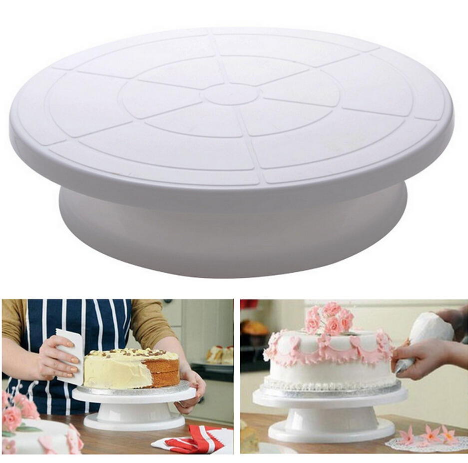 2017 cake stands Kitchen Cake Decorating Icing Rotating Turntable Cake Stand White Plastic 28cm